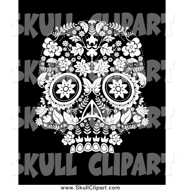 Vector Clip Art of a Day of the Dead Skull in Black and White
