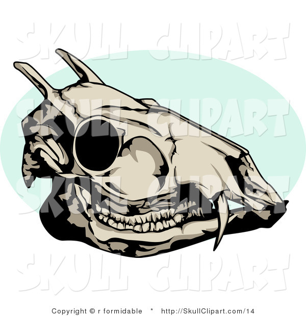 Vector Clip Art of a Dead Deer Skull with a Blue Circle