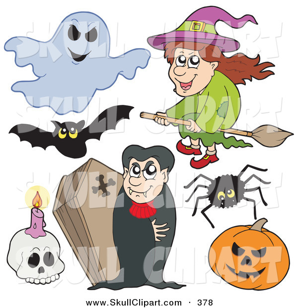 Vector Clip Art of a Digital Collage of Halloween Items on a White Background