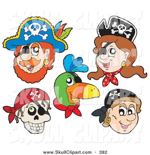 Vector Clip Art of a Digital Collage of Pirate Items on a White Background