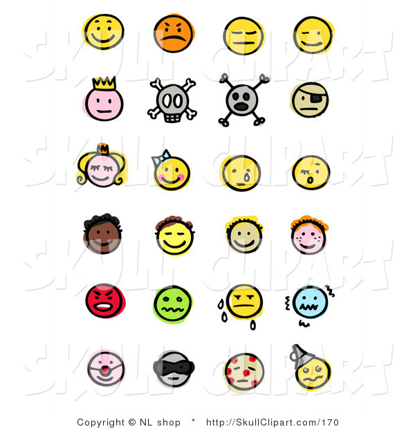 Vector Clip Art of a Digital Collage of Twenty Four Happy, Mad, Depressed, Royal, Skull, Pirate, Children, Crying, Sick and Diverse Emoticons