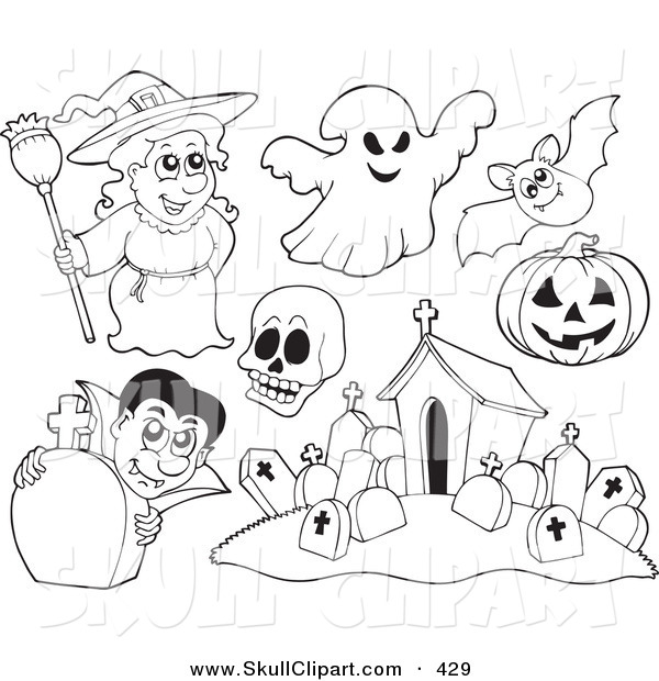 Halloween Coloring Pages Skulls. Vector Clip Art of a Digital Set Halloween Coloring Page Outlines  Witch