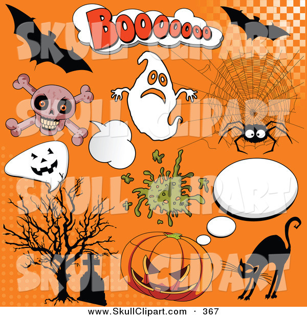 Vector Clip Art of a Digital Set of Halloween Comic Icons on Orange