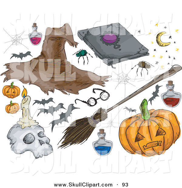 Vector Clip Art of a Digital Set of Halloween Stuff; Witch Hat, Spider, Bats, Pumpkin, Broomstick and Skull