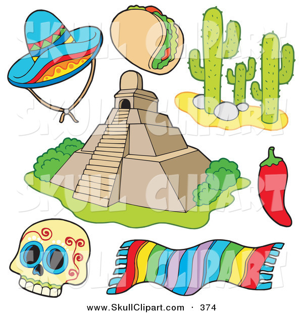 Vector Clip Art of a Digital Set of Mexican Items