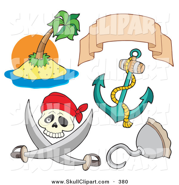 Vector Clip Art of a Digital Set of Pirate Items on a White Background