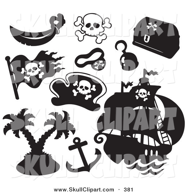 Vector Clip Art of a Digital Set of Pirate Items on Solid White