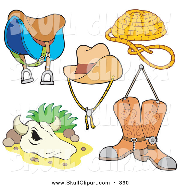 Vector Clip Art of a Digital Set of Western Items