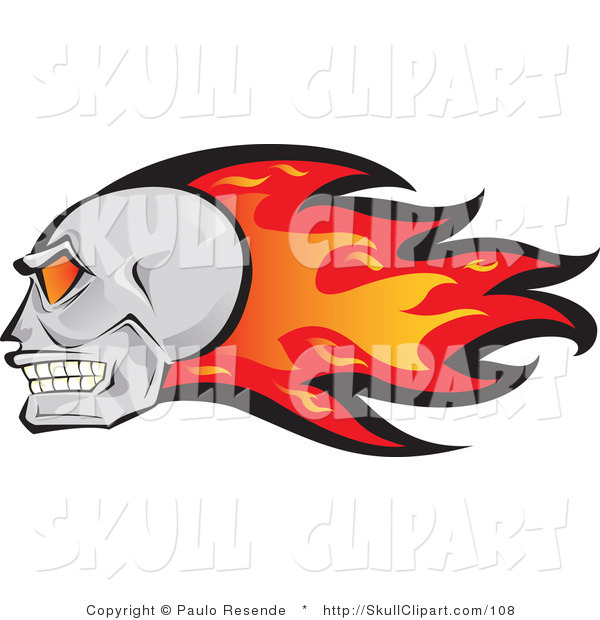 Vector Clip Art of a Fast Human Skull with Red and Orange Flames Behind It