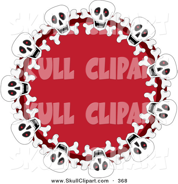 Vector Clip Art of a Festive Red Wreath with Halloween Skulls on White