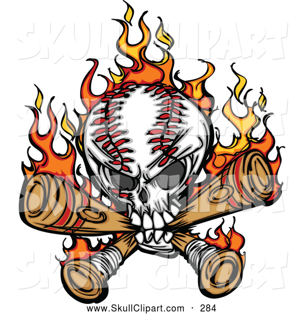 Vector Clip Art of a Flaming Baseball Skull Biting Through Bats