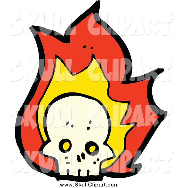 Vector Clip Art of a Flaming Skull