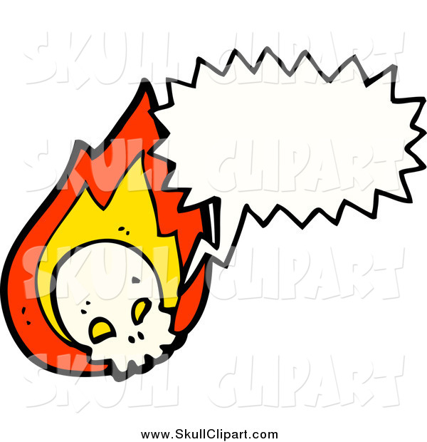 Vector Clip Art of a Flaming Talking Skull