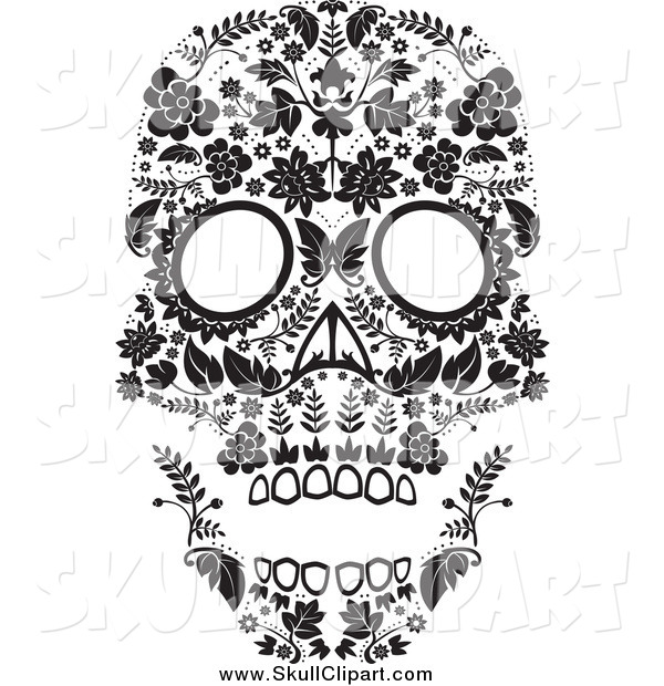Vector Clip Art of a Flowered Black and White Day of the Dead Skull