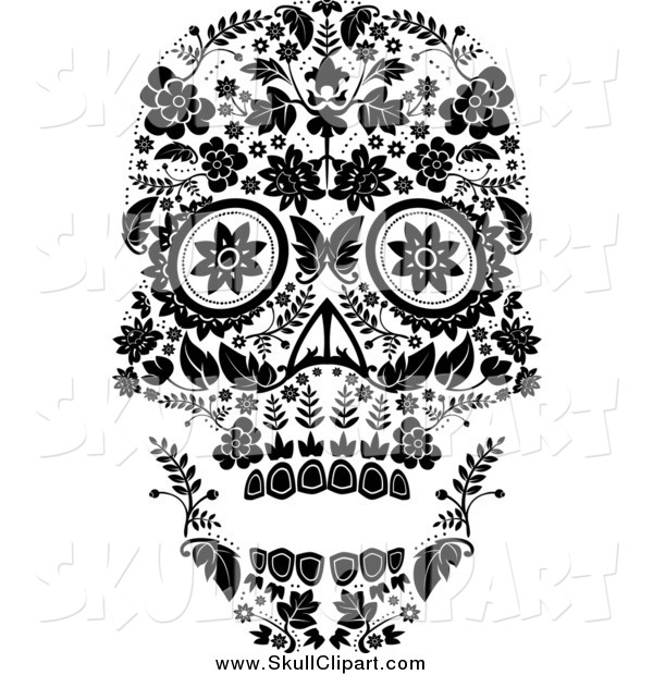 Vector Clip Art of a Flowered Day of the Dead Skull in Black and White