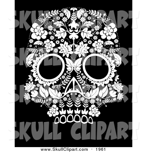 Vector Clip Art of a Flowered Day of the Dead Skull on Black
