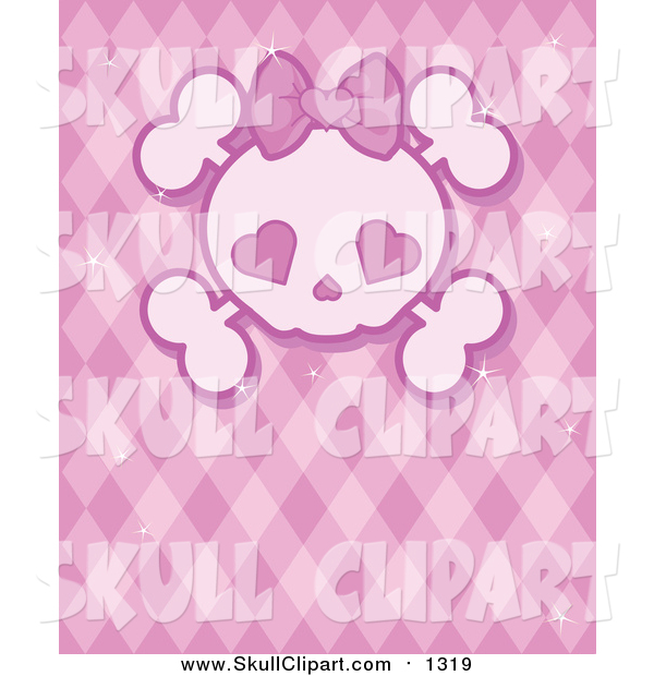 Vector Clip Art of a Girly Skull with Heart Eyes over a Pink Pattern