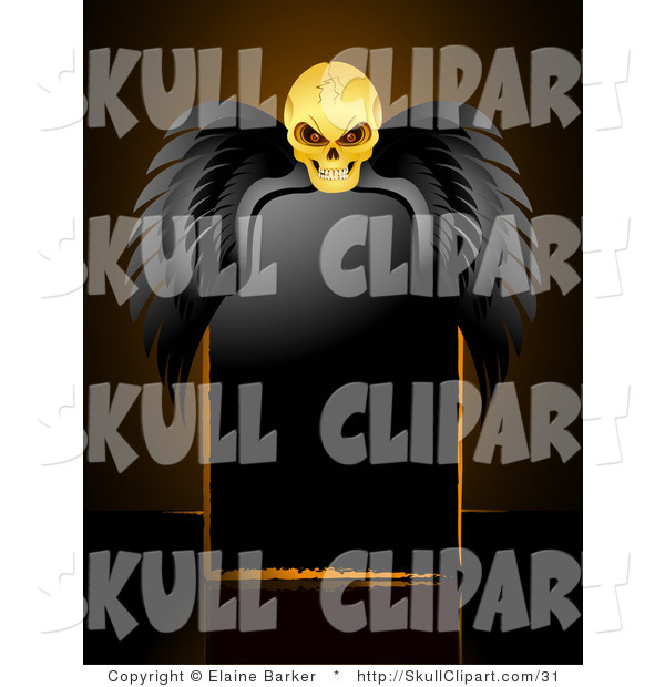 Vector Clip Art of a Glowing Yellow Creepy Skull with Black Wings, Resting over a Blank Black Sign