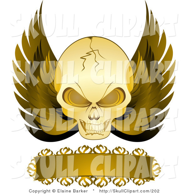 Vector Clip Art of a Gold Cracked Evil Skull with Golden Wings and a Blank Banner, on a White Background