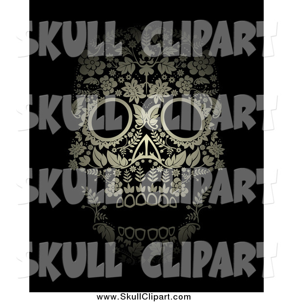 Vector Clip Art of a Gold Ornate Floral Day of the Dead Skull on Black