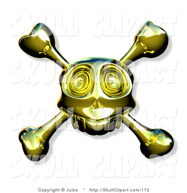 Vector Clip Art of a Golden Skull with Crossbones on White