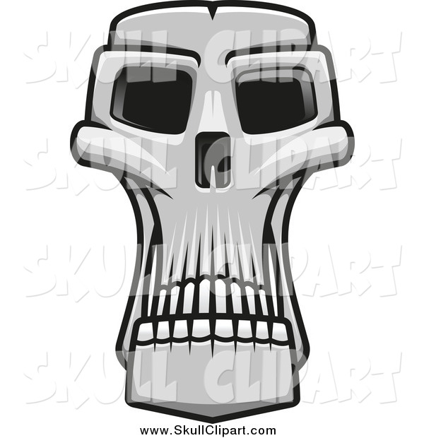Vector Clip Art of a Grayscale Long Monster Skull