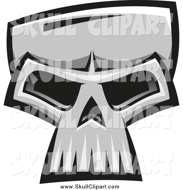 Vector Clip Art of a Grayscale Monster Skull