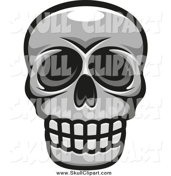 Vector Clip Art of a Grayscale Skull Smiling