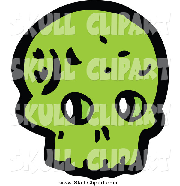 Vector Clip Art of a Green Alien Skull