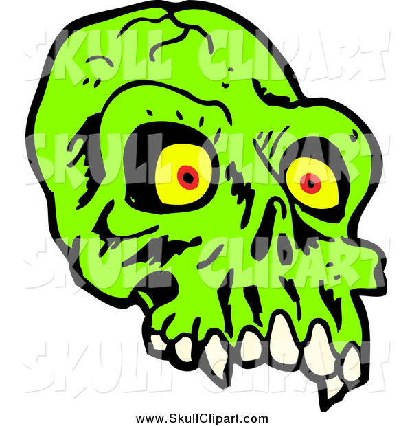 Vector Clip Art of a Green Alien Skull with Red and Yellow Eyes