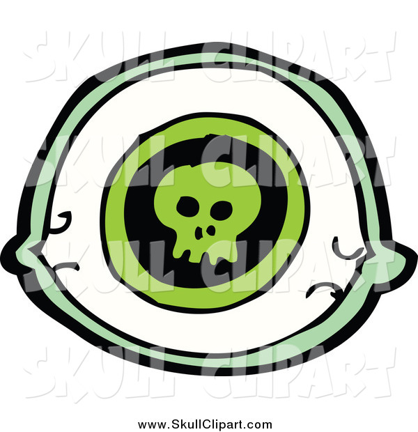 Vector Clip Art of a Green Eye with a Skull