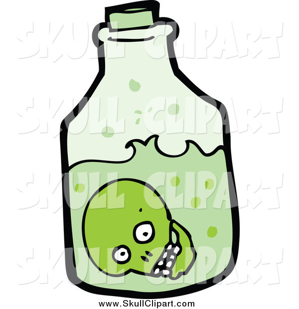 Vector Clip Art of a Green Skull Inside a Bottle