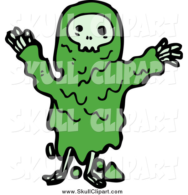 Vector Clip Art of a Green Skull Monster