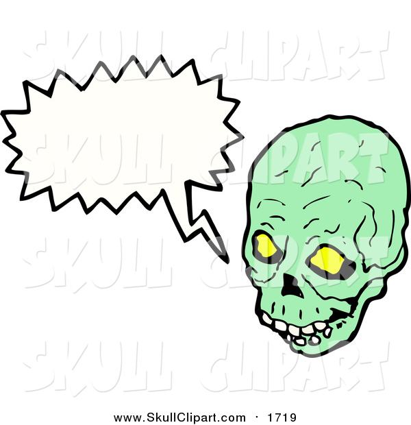 Vector Clip Art of a Green Skull with a Speech Balloon