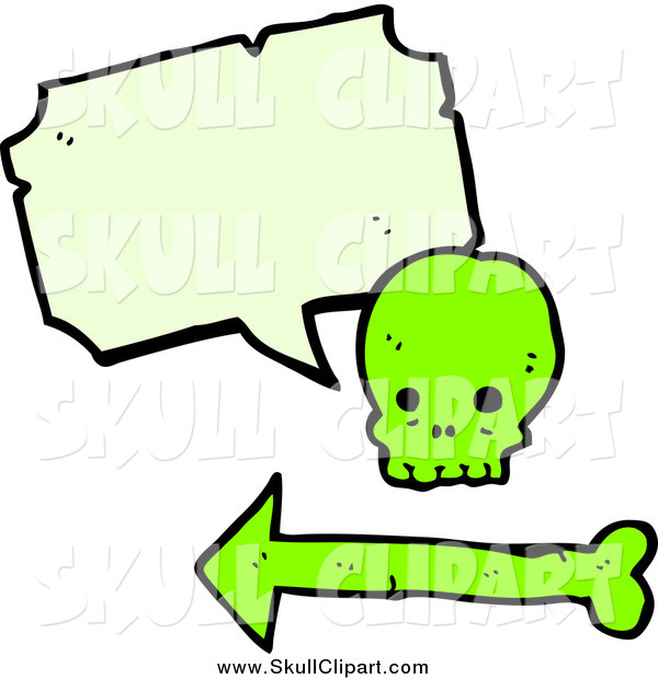 Vector Clip Art of a Green Skull with a Speech Bubble