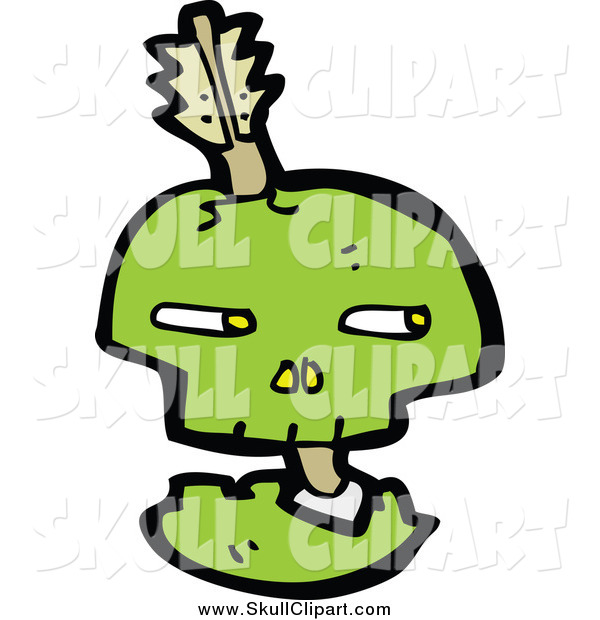 Vector Clip Art of a Green Skull with an Arrow Through Its Bones