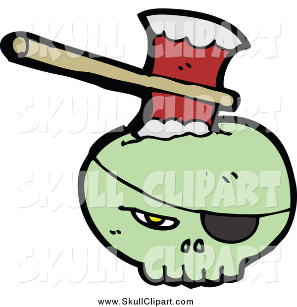 Vector Clip Art of a Green Skull with an Eye Patch, Stabbed with an Ax