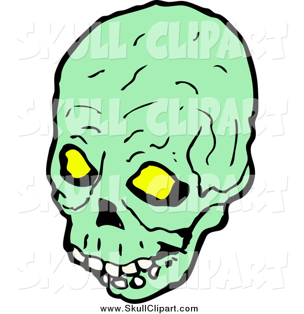 Vector Clip Art of a Green Skull with Glowing Eye Sockets