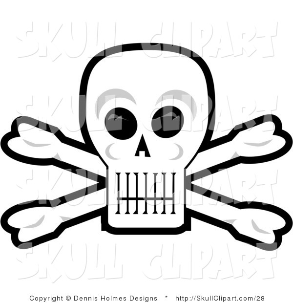 Vector Clip Art of a Grinning Human Skull and Crossbones with Black Eye Sockets