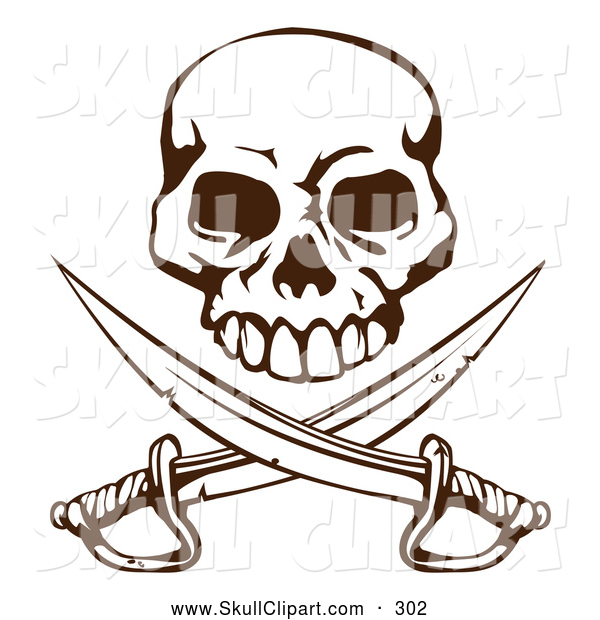 Vector Clip Art of a Grinning Pirate Skull over Crossed Swords