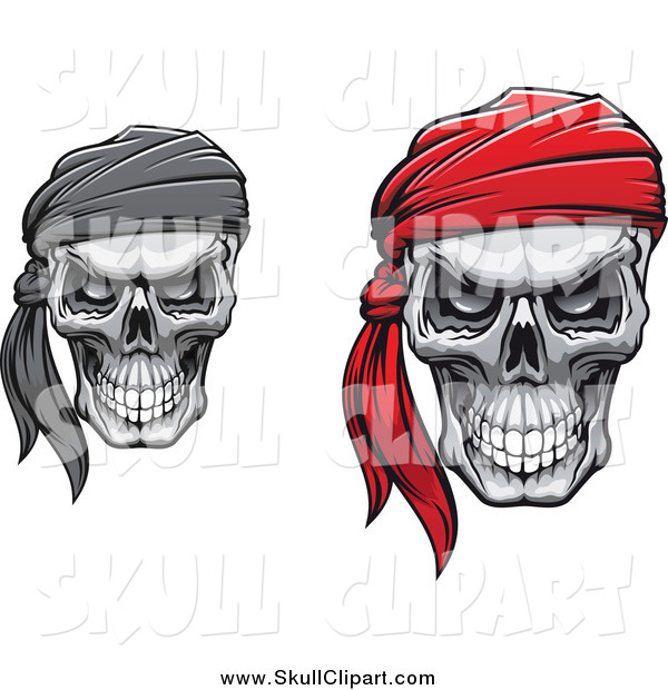 Vector Clip Art of a Grinning Skulls with Bandanas