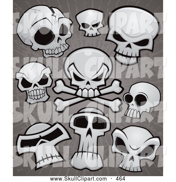 Vector Clip Art of a Group of Human Skulls and Cross Bones over Grungy Gray