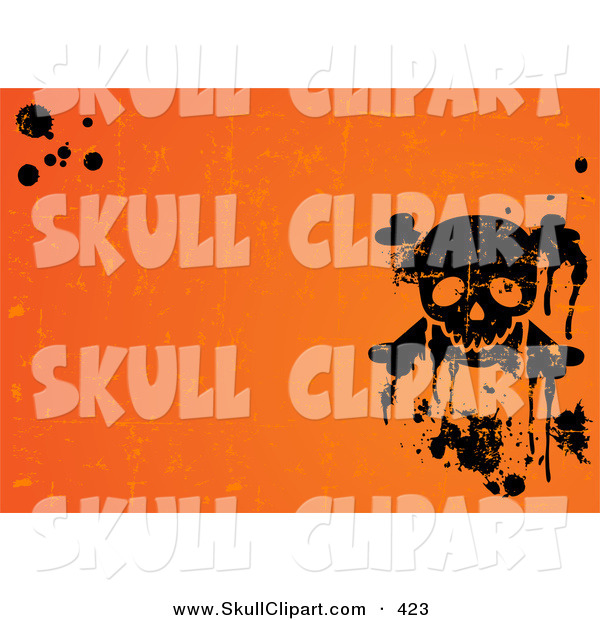 Vector Clip Art of a Grungy and Spooky Orange Halloween Background with Black Splatters and a Skull