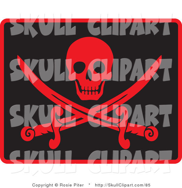 Vector Clip Art of a Happy Red Skull over Crossed Pirate Swords on Black