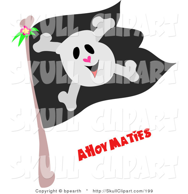Vector Clip Art of a Happy Skull and Crossbones on a Black Pirate Flag with Ahoy Maties Text