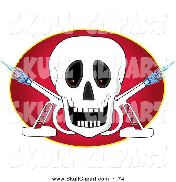 Vector Clip Art of a Happy White Skull with Two Torches over a Red Oval