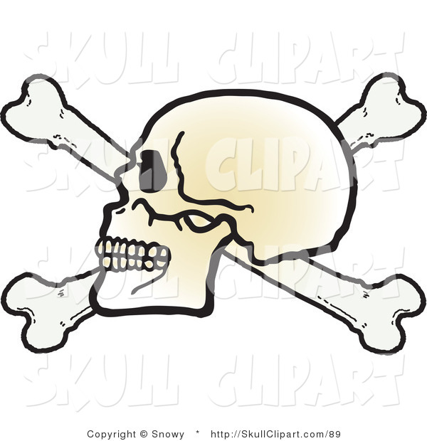 Vector Clip Art of a Human Skull Facing Left on Top of Crossbones on White