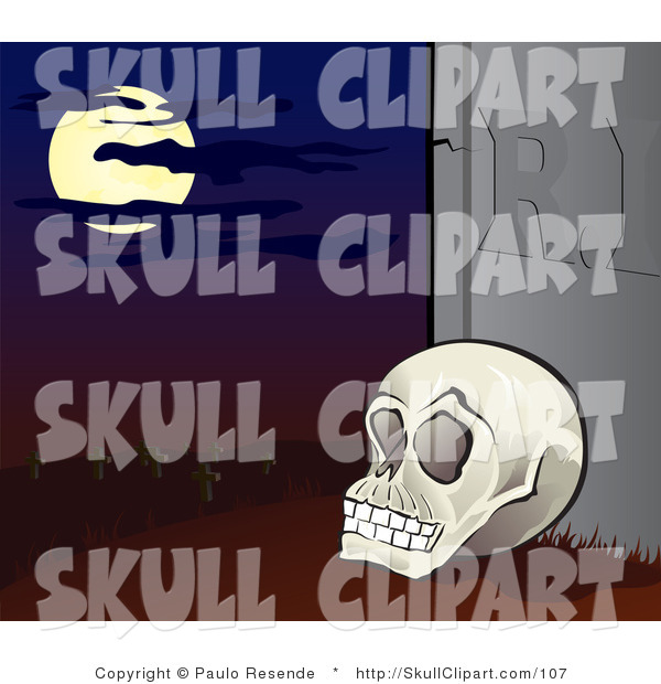 Vector Clip Art of a Human Skull Propped up Against a Tombstone in a Cemetery Under a Full Moon