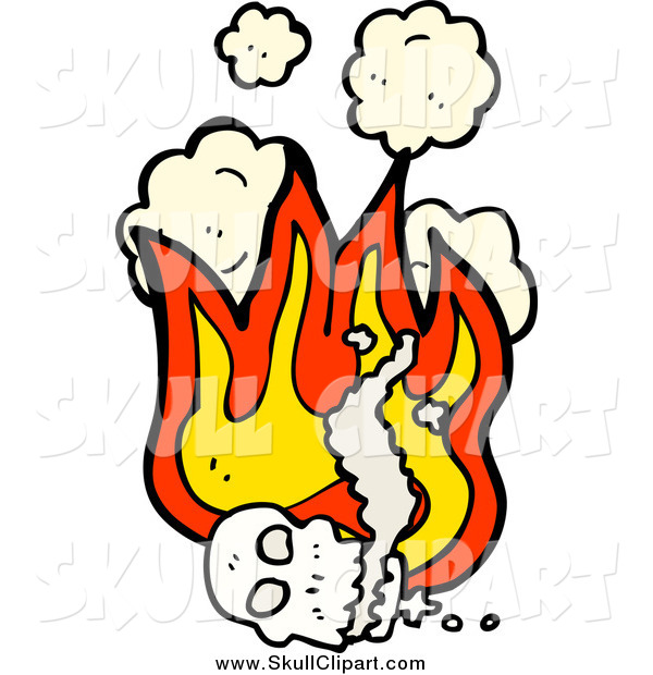 Vector Clip Art of a Human Skull with Flames and Smoke