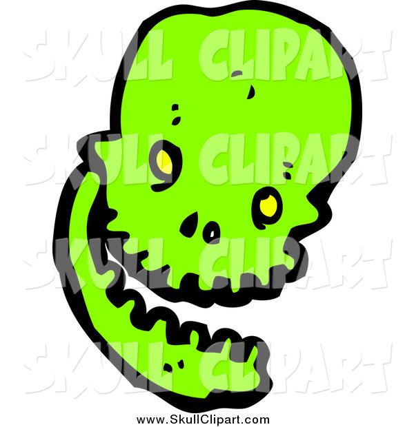 Vector Clip Art of a Laughing Green Skull
